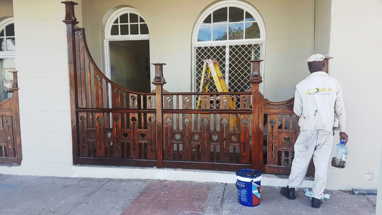 treating the woodwork at king edward hotel port elizabeth