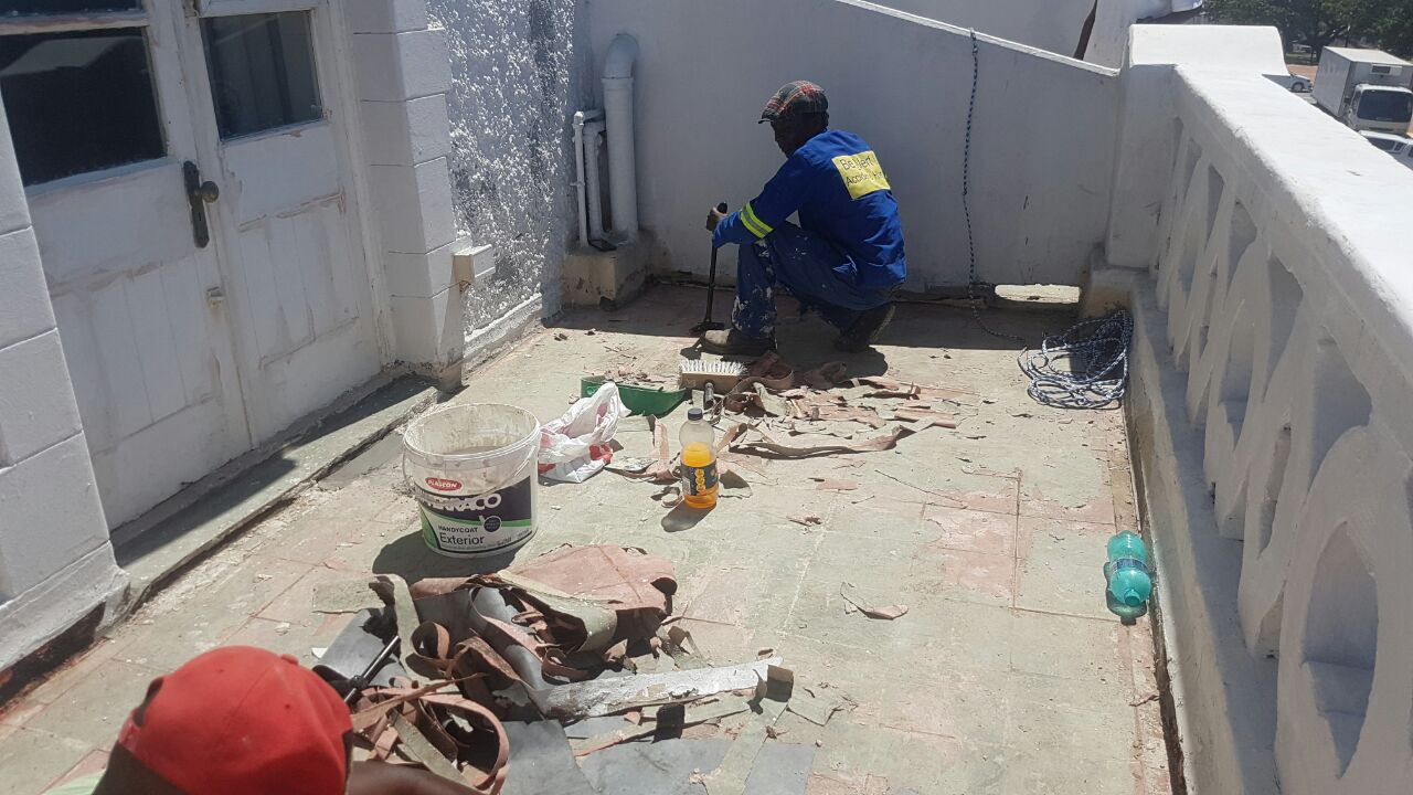 waterproofing repair work underway